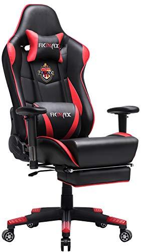 Ficmax Gaming Stuhl Ergonomischer Computer Spielstuhl Racing Stil E-Sports Stuhl mit Massage Lordosenstütze, PU Leder Reclining Computerstühle, Gamer Stühle mit Ausziehbarem Fußraste (schwarz&rot)