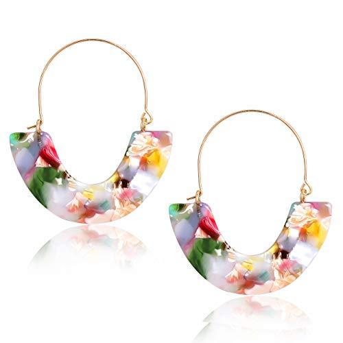 CEALXHENY Acrylic Earrings Tortoise Hoop Earrings Statement Wire Resin Earrings Fan Drop Dangle Earring for Women (D Pink Flower)