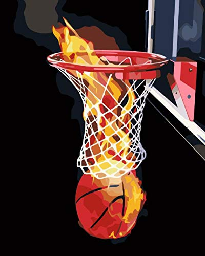 ZLLM Niños Pintura por Números con Pinceles Baloncesto de Llama rojaPintar por Numeros para Adultos Niños Pintura por Números con Pinceles y Pinturas Decoraciones 40X50 Cm