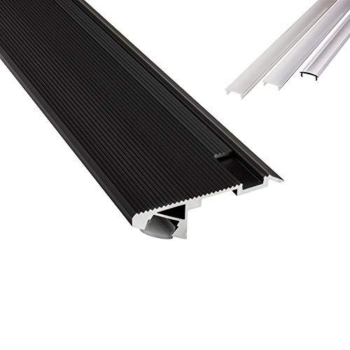 B-WARE - T-STA 30° LED Alu Treppenprofil Treppenwinkel Profil Stufen schwarz + Abdeckung Abschlussleiste Fliesen für LED-Streifen-Strip 1m opal