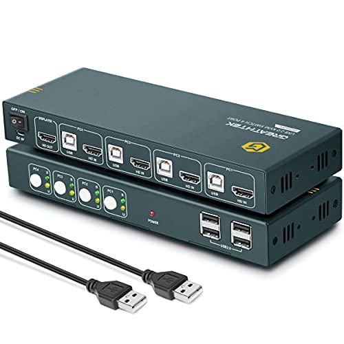 KVM HDMI Switch 4 Puertos, 4K @ 60Hz, USB 2.0, Conmutador KVM,HDMI 2.0, HDCP2.2, Con 4 Cables HDMI y 4 Cables USB, Button Switch, Conmutador KVM HDMI 4 Puertos