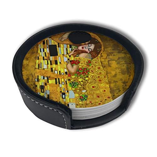 BJAMAJ Gustav Klimt Kisses Premium-Untersetzer aus PU-Leder für Getränke, runde Untersetzer mit Halterungen, geeignet für Zuhause und Küche, 6 Stück