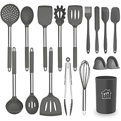 Silicone Cooking Utensil Set, AILUKI Kitchen Utensils 17 Pcs Cooking Utensils Set,Non-stick Heat Resistant Silicone,Cookware with Stainless Steel Handle - Grey