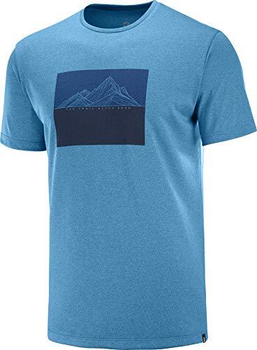 SALOMON Agile Graphic tee Camiseta, Hombre, fjord Blue/Heather, m