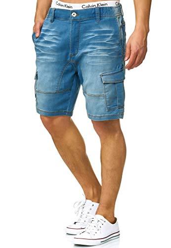Indicode Caballero Chandos Pantalones Cortos Cargo con 6 Bolsillos de Estilo Vaquero Desgastado 84% algodón | Más Corto Pantalón Regular Fit Stretch Pantalones Men Pants para Hombres Blue Wash M