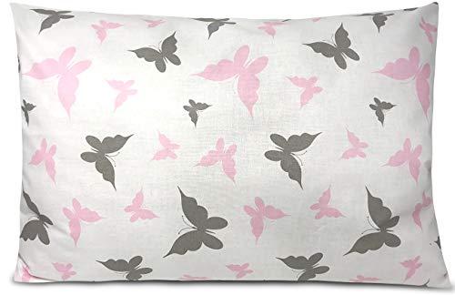BALBINA Funda de cojín infantil de algodón, decoración (mariposas, 80 x 80 cm)