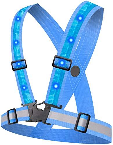 HHEAWAA LED Reflektorweste mit 12 LED Lichter, Running Warnweste mit 360° High Reflector Sicherheitsweste, Einstellbare Elastische Reflektierende Weste, für Laufen Outdoor Sports.