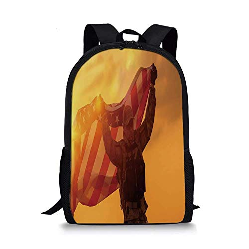 AOOEDM Backpack United States Stylish School Bag,Soldier Celebrating Victory Running with Large Armed Forces Decorative for Boys,11''L x 5''W x 17''H