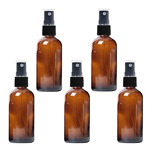 Vegena 5 Stück Braunglas Sprühflasche, 100ml Kleine Sprühflasche Nachfüllbare Reise Leer Feinen Nebel Glasflaschen Zerstäuber Sprayflasche, Apotheker-Sprühflaschen für ätherische Öle, Duftölprobe