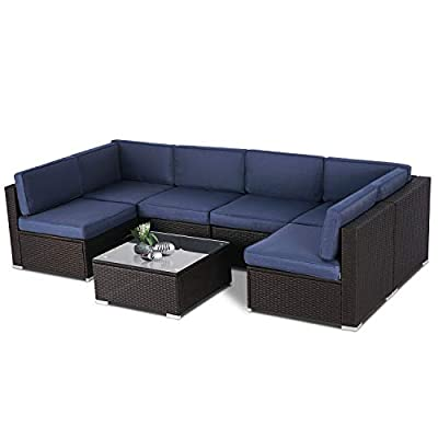 SUNCROWN Outdoor Patio Furniture 7-Piece Sofa Set Brown Wicker, Washable Seat Cushions with YKK Zippers and Modern Glass Coffee Table?Dark Blue Cushion?