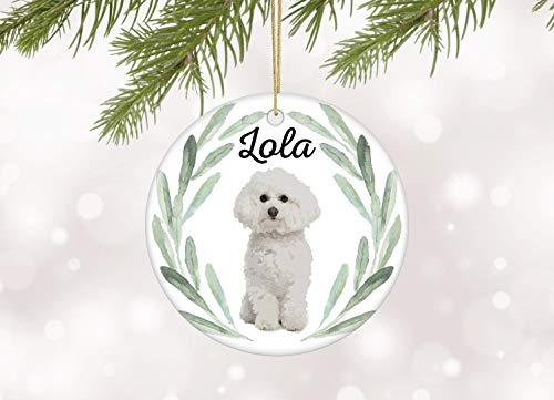 DKISEE Circle Ceramic Memorial Ornament Bichon Frise Christmas Ornament Personalized Dog Ornament with Bichonpoo Gift for Dog Owner Family Dog Ornaments Bichon Keepsake Ornament Hanging Ornament