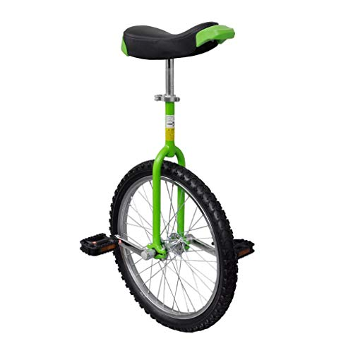 vidaXL Monociclo Verde Ajustable Bicicleta de Una Rueda Monociclos Acero 20 Pulgadas