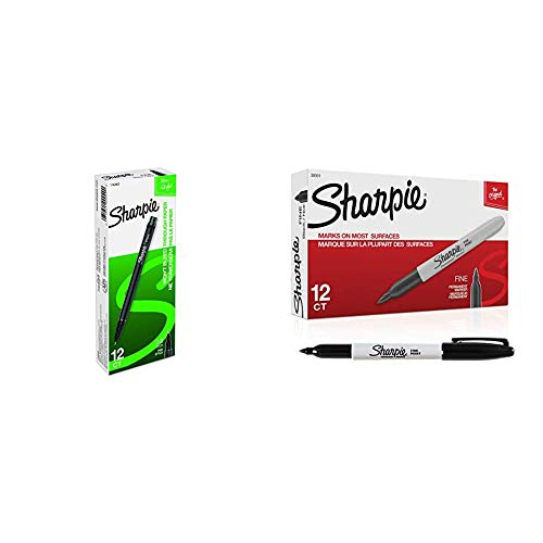Sharpie Plastic Point Stick Water Resistant Pen, Ink, Fine, Pack of 12, Black (1742663) & Permanent Markers, Fine Point, Black, 12 Count