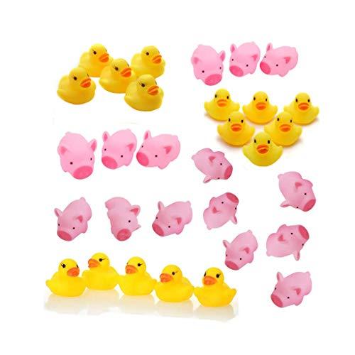 Cikuso 5 Piezas de Juguete de Pato Amarillo para Bebe ninos Juguetes de Bano Lindo de Caucho Pato chirriante
