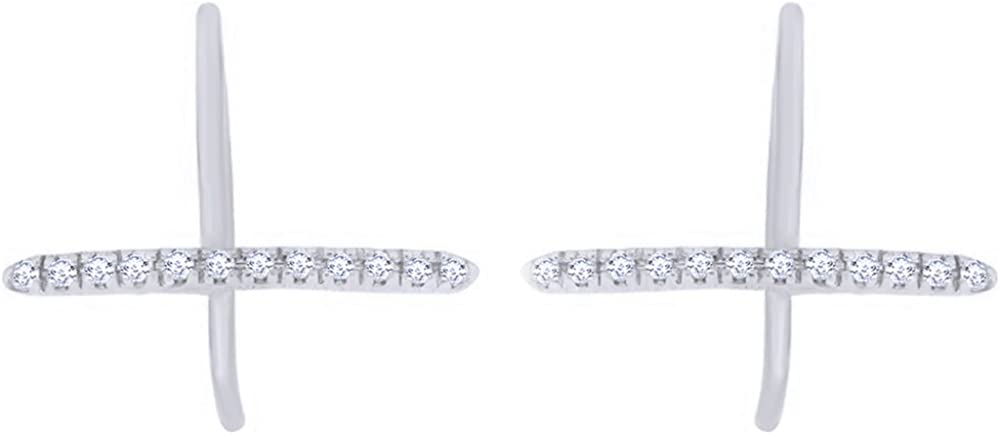 Round Cut White Natural Diamond Max 66% OFF Minimalist Solid Max 77% OFF In 10K Earrings