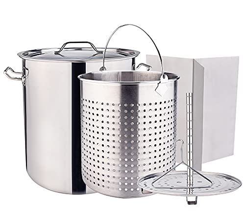 ARC 64QT Stainless Steel Stockpot for Crawfish Seafood Turkey Fryer Pot with Basket Divider and Hook, Tamale Steaming Crab Lobster Outdoor Cooking and Home Brewing