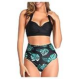 ITISME Retro Bikini Floral, Damen Triangel Zweiteilige Strandkleidung Bikini-Set Streifen Einfarbig Bikinimode High Waist Hose Push Up Schwarz Schleife Oberteil Bikini