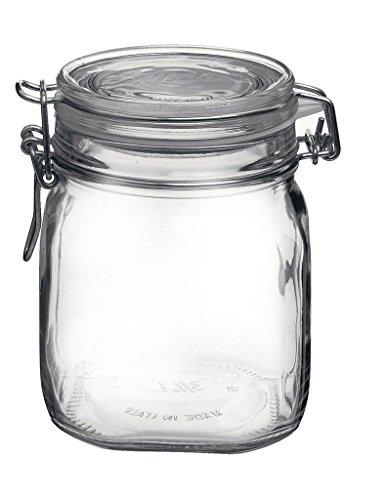 Bormioli Vorratsgläser Rocco mit luftdichtem Bügelverschluss, für Reis, Nudeln, Eingemachtes, glas, farblos, 0,75 Liter