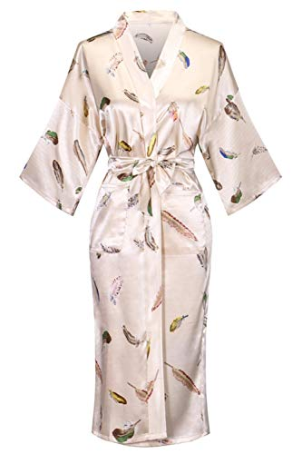 Old-to-new Women's Long Kimono Robe Silk Bathrobe with Pockets-Multi-Pattern,Pagoda Beige XL