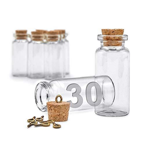 ARTESTAR 30 Mini Botellas de Deseo, Bote de Cristal con Tapón de Corcho, Frasco de Muestra para Mensajes, Decoración de Boda (Pack Pequeño, 22 x 50mm)