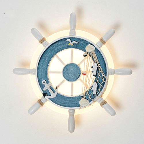 LDTSWES Lampada da notte a forma di timone creativa, lampada da parete decorativa in stile marino per camera da letto per bambini, lampada da comodino, regalo di Natale blu