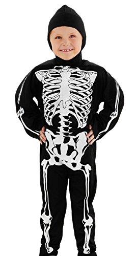 Folat 23767 S Skelett Kostüm fur Kinder, 98-116, Schwarz