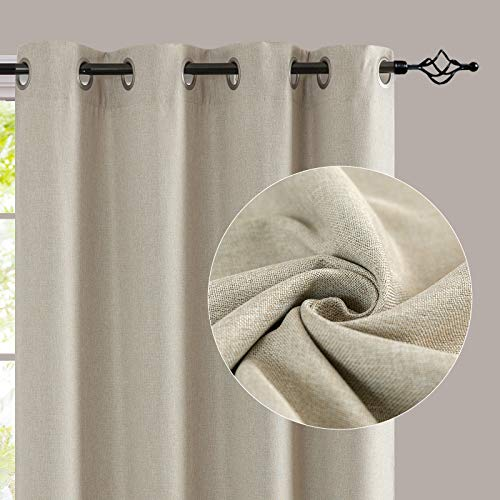 jinchan Linen Textured 95 inch Long Room Darkening Greyish Beige Curtains for Bedroom Light Reducing & Thermal Insulating Curtain Panel One Panel