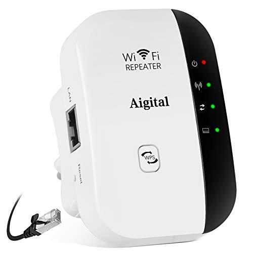 Aigital WLAN Repeater 300Mbps WiFi Extender und Wireless Access Point Multifunktion WLAN-Signal Verstärker 2.4GHz mit WPS Funktion, kompatibel mit Modem Faser Router, 1 Fast-Port IEEE802.11n/g/b