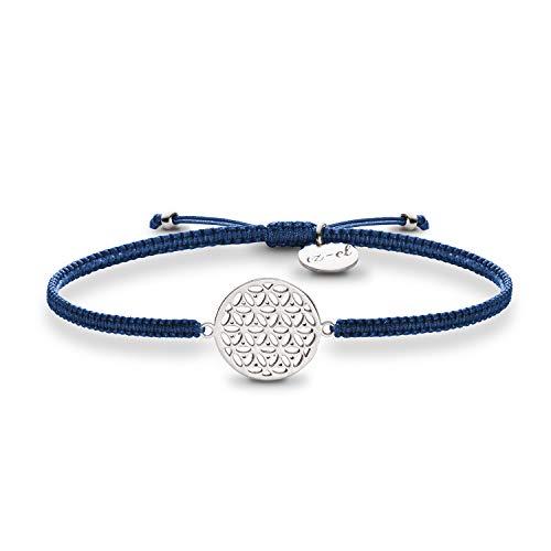 Lebensblume Armband dunkelblau 925 Silber