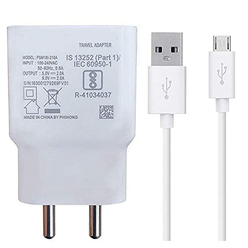 Siwi Fast Charger for ZTE Blade A5 2020 Charger Original Adapter Like Wall Charger | Mobile Fast Charger | Android USB Charger with 1 Meter Micro USB Charging Data Cable (2 Amp, VI, White)