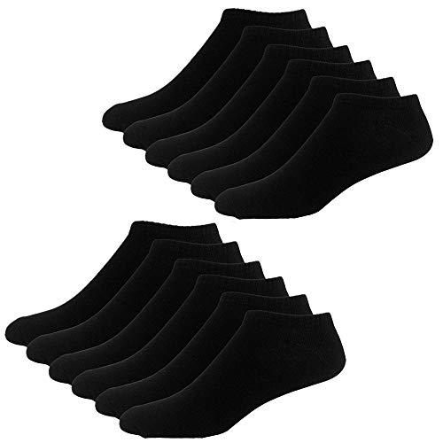 YouShow Chaussettes de Basket Hommes Femmes 10 Paires Chaussettes mi Chaussettes Courtes Coton Unisexe OEKO-TEX Standard 100(Noir,35-38 EU)