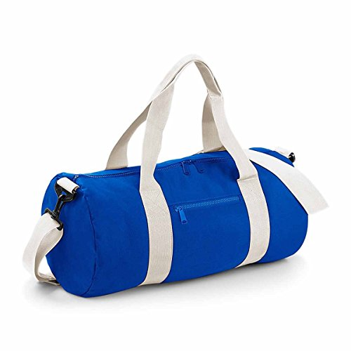 BagBase Unisex BG140BROW Original Barrel Bag, Bright Royal/Off White, maat M
