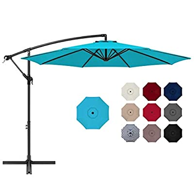 Best Choice Products 10ft Offset Hanging Market Patio Umbrella w/Easy Tilt Adjustment, Polyester Shade, 8 Ribs for Backyard, Poolside, Lawn and Garden - Sky Blue