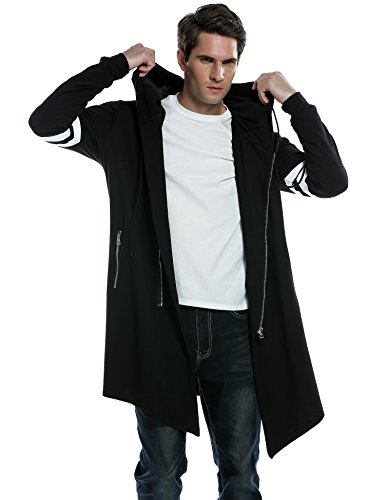 COOFANDY Men's Fashion Long Hooded Outwear Hoody Sweatshirt Teenager Hoodies Longline Cardigan (XXL, Black)