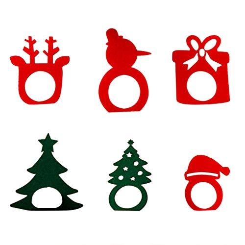 Holibanna 6 Unids Servilletero de Navidad Centros de Mesa de Vacaciones Anillo de Servilleta Reno de Santa Claus No Tejido para La Decoración de La Cena de La Mesa de La Fiesta de Navidad