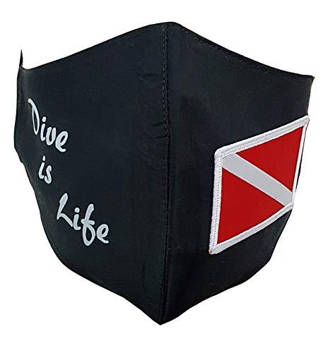 Mund- Nasen- Maske Dive is Life mit Flagge Gestickter Patch Mundschutz für Taucher Tauchen, Farbe:Schwarz