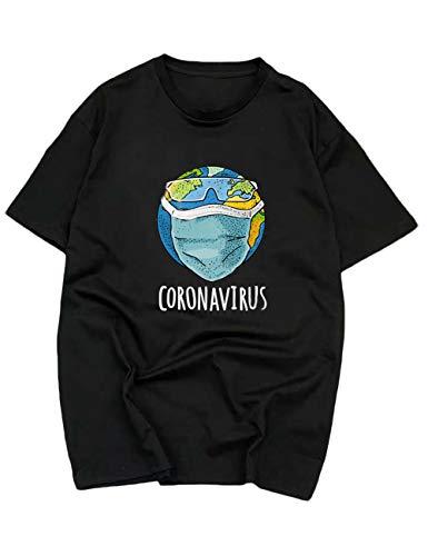 Hahaemma - Maglietta da donna con scritta Corona Virus Covid 19 Coronavirus Nero  L