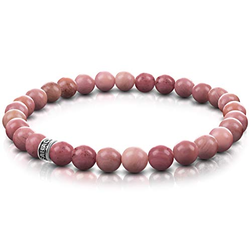 FABACH Rhodochrosit Perlenarmband mit 6mm Edelstein-Perlen und 925 Sterling Silber Logo-Perle - Edles Naturstein Stretch-Armband für Damen (Rosa-Rot)