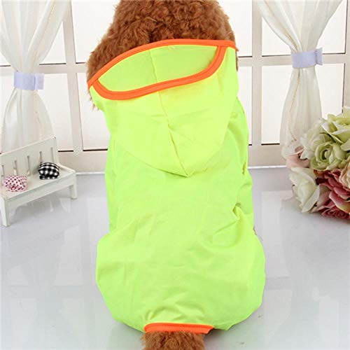 Xinger Hooded Dog Raincoats Waterdichte kleding voor kleine honden Chihuahua Pug-kleding Dog Raincoat Poncho Puppy Rain Jacket, Fluorescerend groen, L