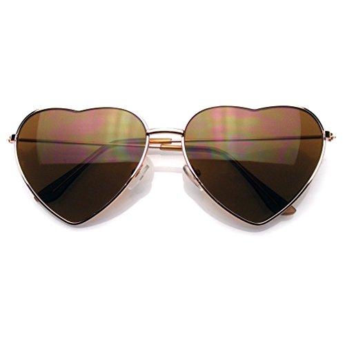 Emblem Eyewear Premium Mujer Lindo Marco Metal Corazón Forma De Gafas De Sol (Oro)