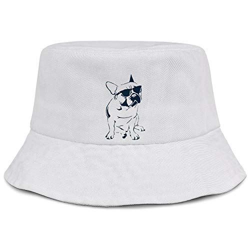 Frenchie French Bulldog with Sunglasses Bucket Hat Summer Travel Beach Sun Hat Outdoor Cap Unisex(Black White Pink)