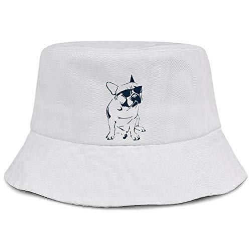 Frenchie French Bulldog with Sunglasses Bucket Hat Summer Travel Beach Sun Hat Outdoor Cap Unisex(Black White Pink)