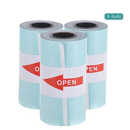 Aibecy - Rollo de papel adhesivo (57 x 30 mm) para impresora térmica de bolsillo PeriPage A6 PAPERANG P1/P2 Mini Photo Printer, 3 Rolls