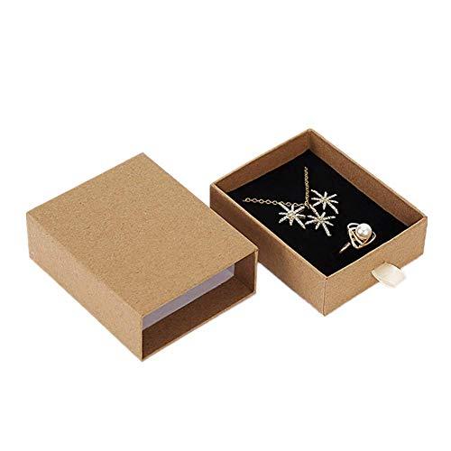 KinderALL cajitas de Carton para Regalos Cajas para Joyas Cuadrado Caja de joyería Almacenamiento de joyería y bisutería Joyas Caja de Marrón Caja de Anillo Pendant Box