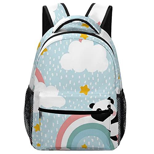 Mochila para niños pequeños, perfecta para prehcool, mochila de escuela primaria para niños y niñas con correa para el pecho, panda ama a los gatos, White-panda Flying in the Sky, Talla única