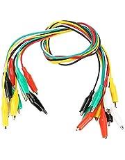 FTVOGUE 10 stuks 50 cm gekleurde krokodillenklemmen, nummer 35 mm, dubbelzijdige kabel voor multimeter, meetkabel, siliconen kabel