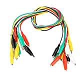 FTVOGUE Cables de Prueba del Multímetre,10pcs 50cm Cocodrilo Clip Cable de Dos Extremos