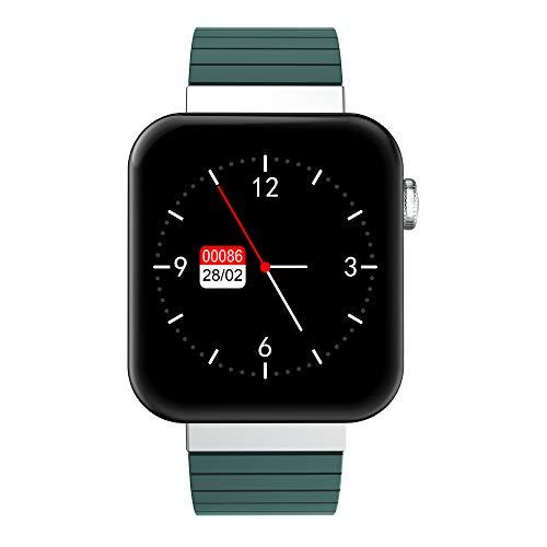 QXbecky Reloj Inteligente Llamada Bluetooth iOSReloj Android Control de música Cronómetro Rastreador de Ejercicios Salud Pulsera Reloj Verde