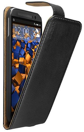 mumbi Echt Leder Flip Hülle kompatibel mit HTC One M8 / M8s Hülle Leder Tasche Hülle Wallet, schwarz