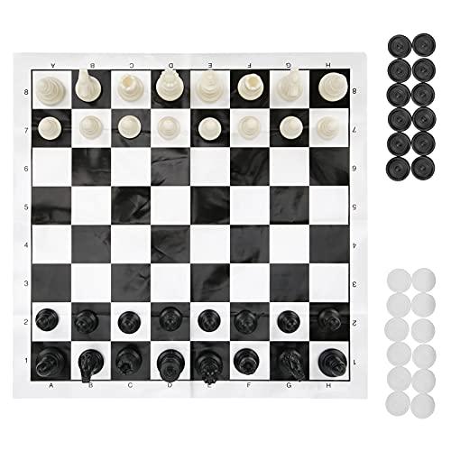 Jopwkuin 10 Pulgadas Plegable Juego de ajedrez y Damas Juego de Juegos de Mesa de Viaje 2 en 1 Juego de Tablero de ajedrez portátil Juguetes educativos de Aprendizaje para niños y Adultos